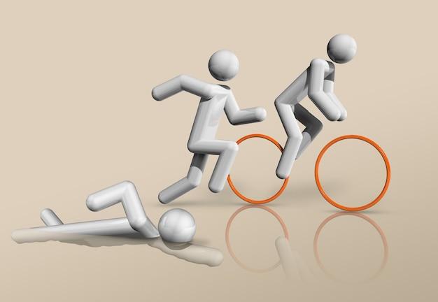 Dreidimensionaler triathlonsymbol olympische sportarten