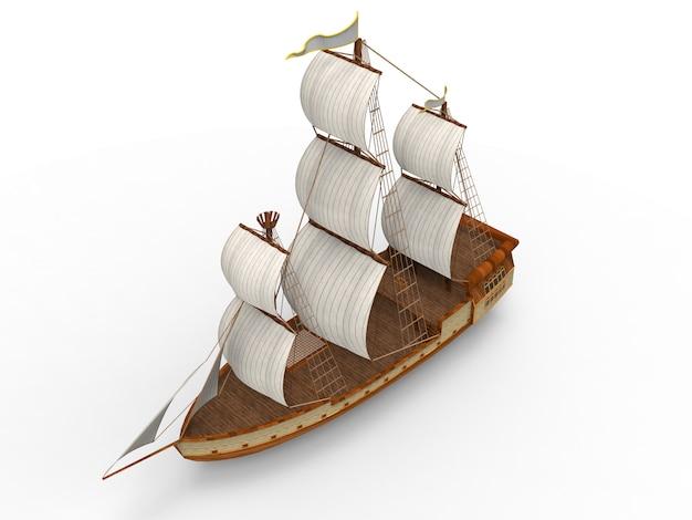 Dreidimensionales altes segelschiff
