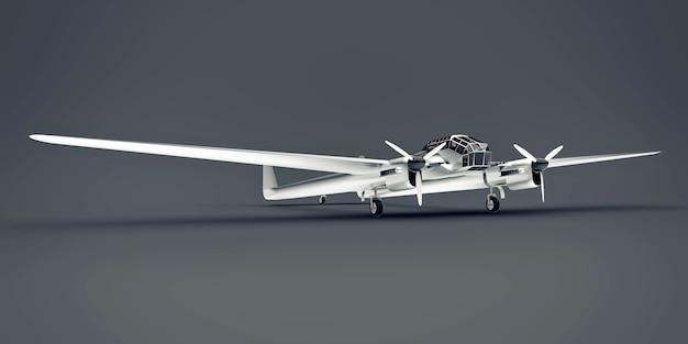 Dreidimensionales modell des bomberflugzeugs des zweiten weltkriegs. glänzender aluminiumkörper mit zwei schwänzen und breiten flügeln. turboprop-motor. glänzendes flugzeug auf grauem hintergrund. 3d-illustration.