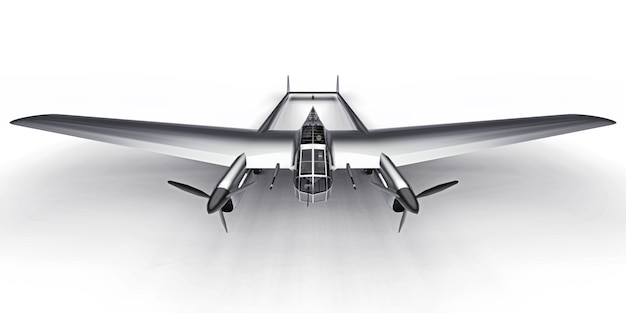 Dreidimensionales modell des bomberflugzeugs des zweiten weltkriegs. glänzender aluminiumkörper mit zwei schwänzen und breiten flügeln. turboprop-motor. glänzendes graues flugzeug auf einem weißen hintergrund. abbildung 3d.