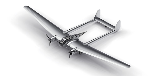 Dreidimensionales modell des bomberflugzeugs des zweiten weltkriegs. glänzender aluminiumkörper mit zwei schwänzen und breiten flügeln. turboprop-motor. glänzendes graues flugzeug auf weißem hintergrund. 3d-illustration.