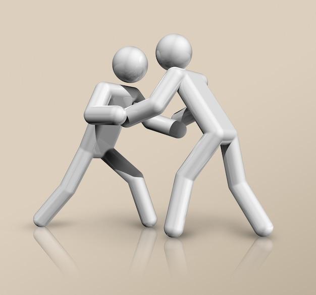Dreidimensionales wrestlingsymbol, olympischer sport. illustration