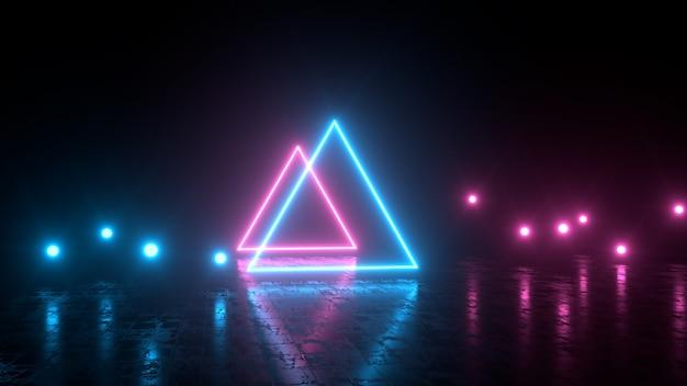 Dreiecke und punkte mit neonlichtern