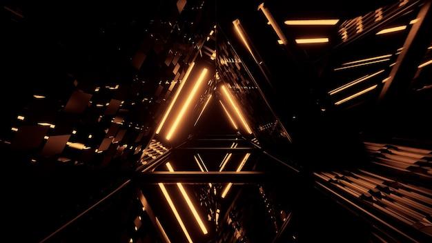Dreieckiger futuristischer flur mit leuchtend goldenen lichtern
