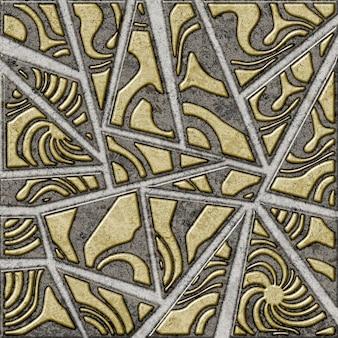 Dreiecksmuster mit steinstruktur. dekorative keramikfliesen mit einem abstrakten muster. element für die innenausstattung