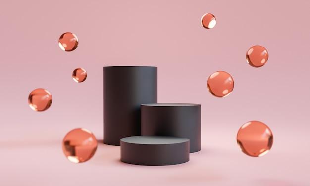 Dreifacher schritt des schwarzen podiums mit glaskugeln auf rosafarbenem hintergrund für die bühnendarstellung von luxuskosmetik- und modeprodukten durch 3d-rendering-technik.