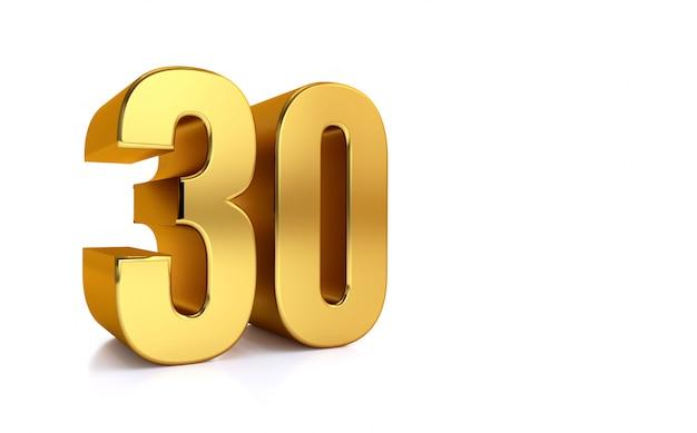 Dreißig, goldene zahl 30 der 3d-illustration auf weißem hintergrund und kopierraum auf der rechten seite für text, am besten für jubiläum, geburtstag, neujahrsfeier.