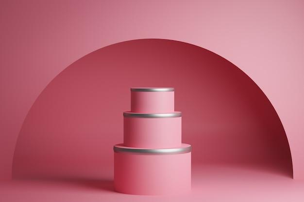 Dreistufige hochzeitstorte des 3d-renderings. nahaufnahme der rosa gleichschenkligen pyramide, sockel. eine szene aus kreisen an einer rosa wand