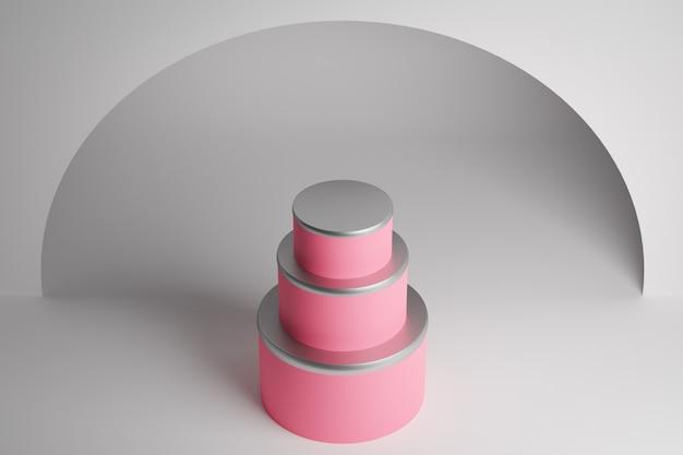 Dreistufige hochzeitstorte des 3d-renderings. nahaufnahme der rosa gleichschenkligen pyramide, sockel. eine szene aus kreisen an einer weißen wand