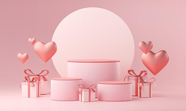 Dreistufige vorlage valentinstag hochzeit liebe herzform und geschenkbox 3d-rendering