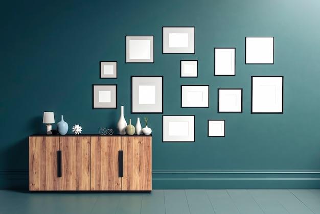 Dreizehn fotorahmen für modell und holz sideboard im wohnzimmer, 3d-rendering