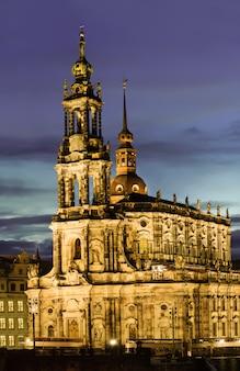 Dresden, hofkirche bei nacht