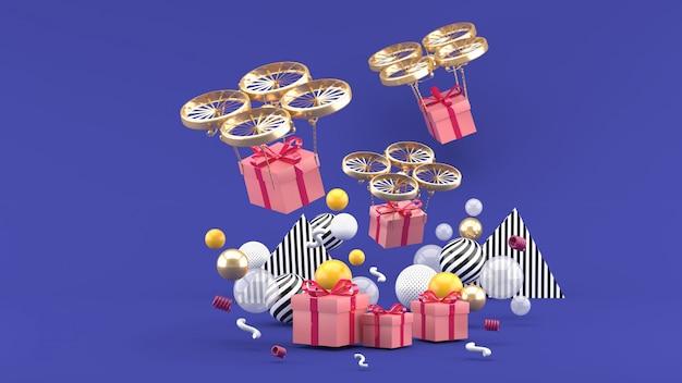 Drohne liefert eine geschenkbox zwischen bunten kugeln auf lila. 3d rendern