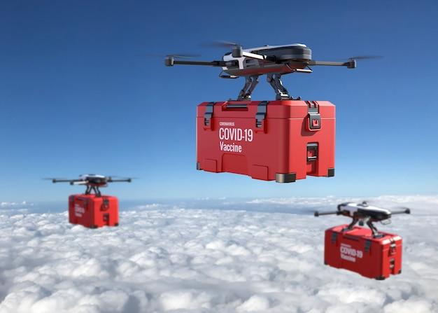 Drohnen liefern den covid-19-impfstoff am himmel. geschäftslufttransport