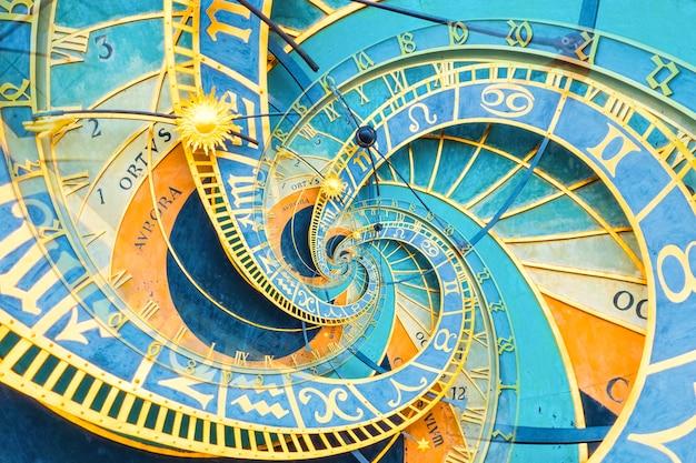Droste-effekt-hintergrund basierend auf der prager astronomischen uhr. abstraktes design für konzepte im zusammenhang mit astrologie, fantasie, zeit und magie.