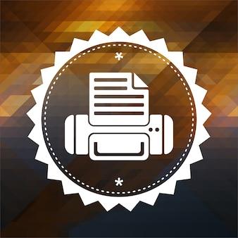 Druckersymbol. retro-etikettendesign. hipster hintergrund aus dreiecken, farbfluss-effekt.