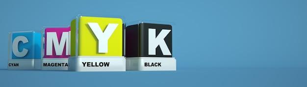 Druckfarben cyan magenta gelb und schwarz