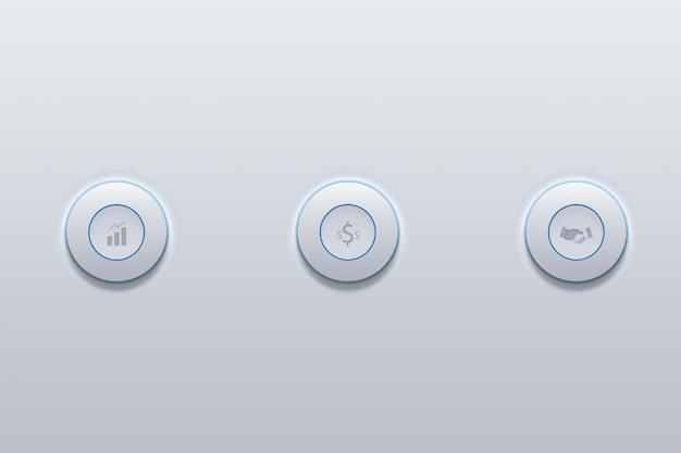 Druckknopfikone des geschäfts vom erfolgssymbol auf grau.