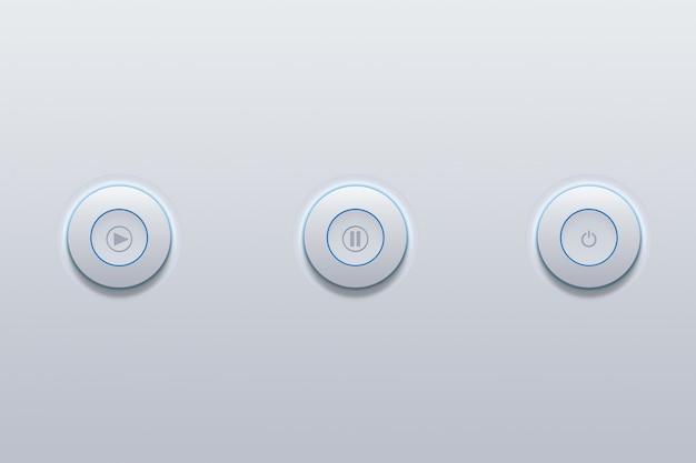 Druckknopfikone des symbols der elektronischen medien auf grau.