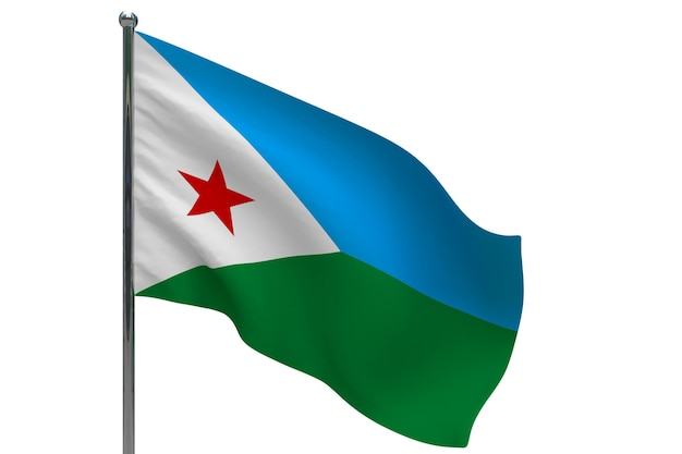 Dschibuti flagge auf stange. fahnenmast aus metall. nationalflagge von dschibuti 3d-illustration auf weiß