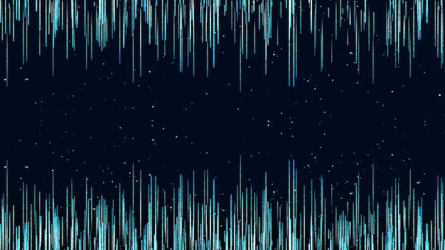 Dunkelblaue digitale signatur mit partikeln wie regen.