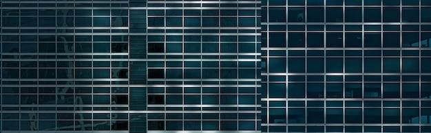 Dunkelblaue glasbürowand, breiter hintergrund der bannergröße