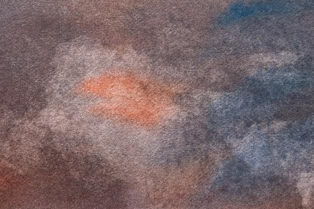 Dunkelblaue und braune farben des abstrakten kunsthintergrunds. mehrfarbige aquarellmalerei auf leinwand.