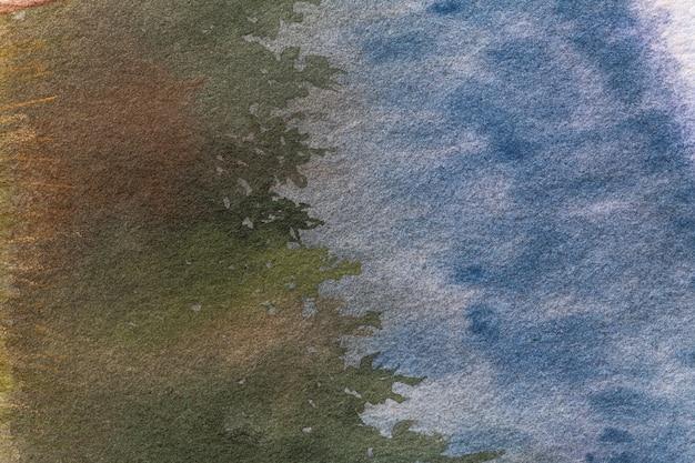 Dunkelblaue und grüne farben des abstrakten kunsthintergrunds. aquarellmalerei auf leinwand.