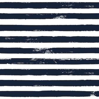 Dunkelblaue und weiße grunge abstrakte hand gezeichnete nahtlose streifenmuster. weißer hintergrund mit schwarzen horizontalen streifen der pinsellinie. tinte abbildung. drucken sie für textilien, tapeten, verpackungen.