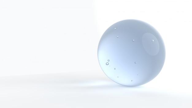 Dunkelblaue wasserblase auf weißem hintergrund 3d übertragen