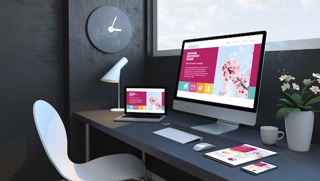 Dunkelblauer arbeitsbereich mit 3d-rendering von reaktionsschnellen geräten, die eine fantastische website für reaktionsschnelles design darstellen