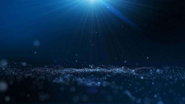 Dunkelblauer und glühenstaubpartikel-zusammenfassungshintergrund, lichtstrahlstrahleneffekt.