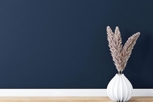 Dunkelblauer wandhintergrund mit boho-dekor