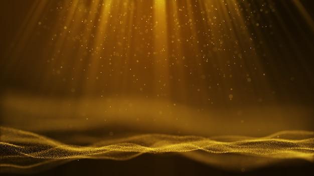 Dunkelgelbes goldpartikel bilden einen abstrakten hintergrund mit fallenden und flackernden lichtstrahl-strahlenteilchen.3d-rendering.