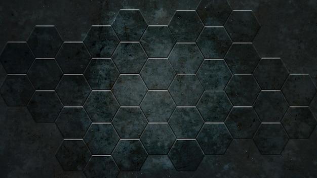 Dunkelgrauer hexagonhintergrund und wirkliche konkrete beschaffenheit für materielles design