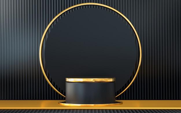 Dunkelgrauer und goldener abstrakter geometrischer hintergrund mit podiumsanzeige 3d-rendering
