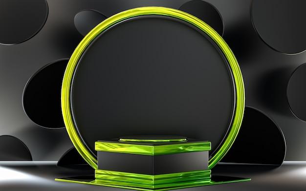 Dunkelgraues und grünes abstraktes kreispodiumsdisplay für die produktpräsentation 3d-rendering
