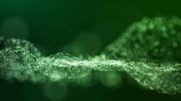 Dunkelgrüner digitaler abstrakter hintergrund mit wellenpartikeln, glühenscheinen und raum mit schärfentiefe.