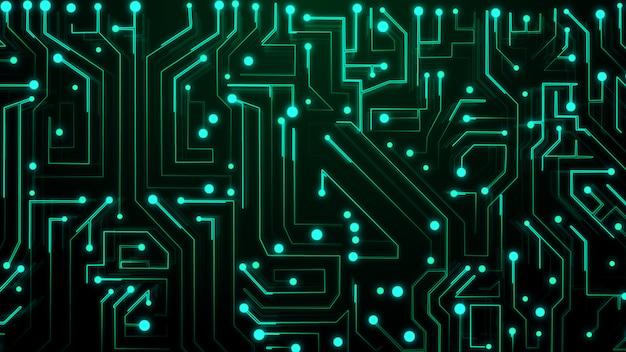 Dunkelgrüner leiterplatten-technologiehintergrund. grafikdesign