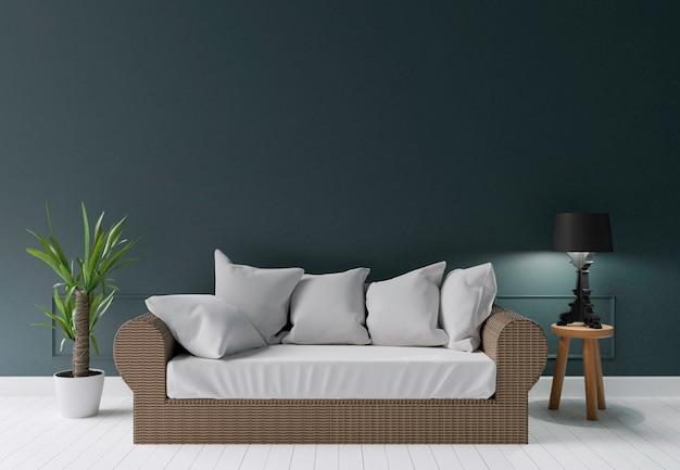 Dunkelgrünes modernes wohnzimmer mit sommersofalampe und wenigem baum, 3d, das leere wand überträgt