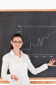 Dunkelhaariger lehrer, der den kursen diagramme erklärt