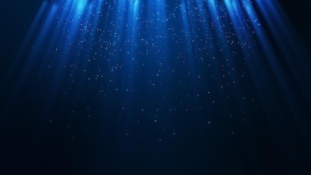 Dunkelhelle blaue partikel bilden einen abstrakten hintergrund mit fallenden und flackernden lichtstrahl-strahlenteilchen. 3d-rendering.
