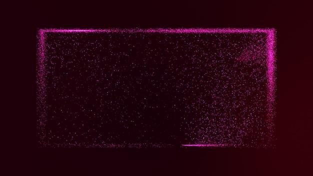 Dunkellila hintergrund mit kleinen lila-rosa staubpartikeln, die in einem rechteckigen kasten glühen.