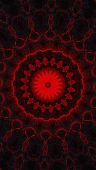 Dunkelrot auf grauem kaleidoskop, vintage traditionelle rot lackierte verwitterte holzfensterläden muster und sechseckige kaleidoskopische designs auf schwarzem hintergrund. vertikales bild.