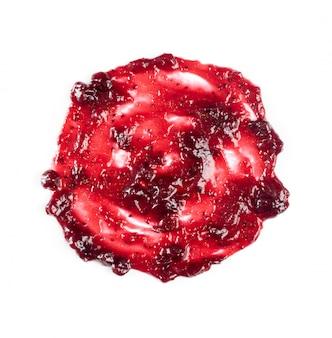 Dunkelroter berry jam round blot frame oder stelle lokalisiert