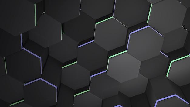 Dunkelschwarzer hexrasterhintergrund, abstrakter hintergrund. elegante und luxuriöse 3d-illustration für geschäfts- und unternehmensvorlagen