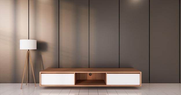 Dunkelschwarzer raum weißer boden minimalistisches japanisches wohnzimmer
