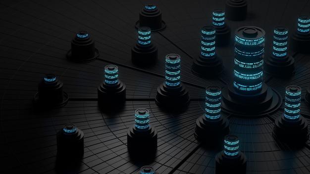 Dunkle 3d-darstellung des abstrakten speicherkonzepts. server- oder datenzentralisierungsverarbeitung.