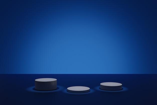 Dunkle 3d-modellierungsszene mit leuchtenden zylindrischen podesten auf blauem hintergrund