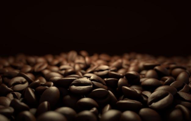 Dunkle, frisch geröstete kaffeebohnen